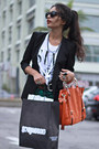 Black-felicee-blazer-white-t-shirt-shirt-orange-chicwish-bag