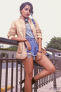 Denim-shorts-sheinside-jeans-vintage-shop-jacket-h-m-shirt