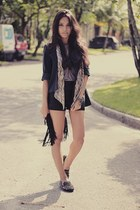 black romwe flats - black Alphoria blazer - heather gray H&M Trend shirt