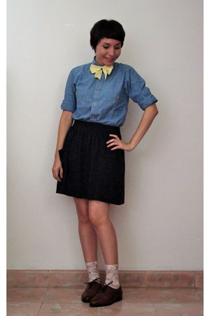 yellow self-made accessories - blue unknown brand shirt - black American Apparel