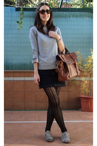 073716e86478 navy jean Stradivarius skirt - charcoal gray Bershka shoes - bronze Misako  bag