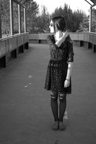 heather gray Bershka shoes - black Bershka dress - black Primark tights
