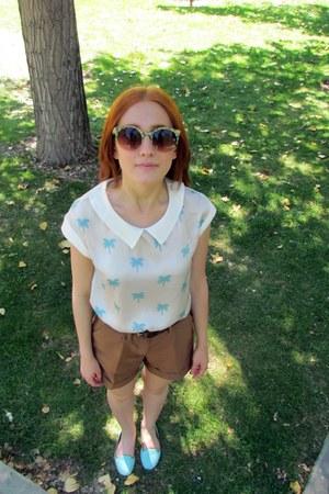 light blue suiteblanco blouse - light blue BLANCO shoes - brown H&M shorts