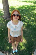 light blue suiteblanco blouse - light blue BLANCO shoes - brown H&M shorts