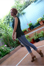 navy Lefties jeans - light pink H&M bag - brown Zara clogs