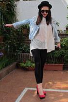 hot pink Primark heels - black Stradivarius hat - blue jean H&M jacket
