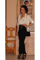 white Zara shirt - beige H&M jacket - black Armani Vintage pants - black Zara sh