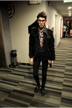 black jacket - black jeans - blue cardigan