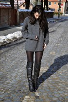 gray sweater - black leather H&M boots