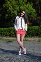 light pink Zara jacket - salmon Zara shorts - white no brand t-shirt