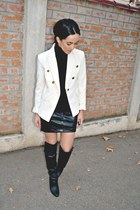 black over the knee H&M boots - cream Mango blazer - black Bershka skirt