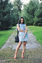 black Zara bag - sky blue no brand dress - red Zara sandals