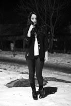 black vintage blazer - black Zara boots - black no name leggings