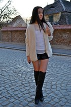 cream PERSUNMALL cardigan - black over the knee H&M boots