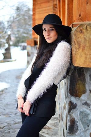 black H&M hat - ivory H&M blouse - black Zara vest - black Zara pants