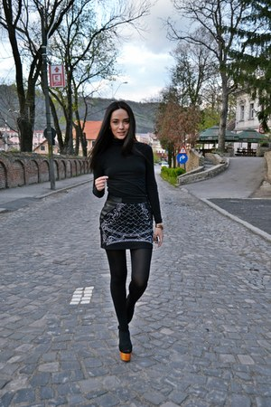 black handmade bad style skirt - black Zara blouse