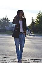 navy vintage Vertigo blazer - sky blue boyfriend Zara jeans - black H&M belt