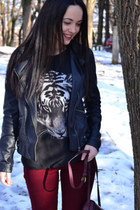 black etam blouse - black Zara jacket - brick red no name bag