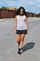 black H&M shoes - black H&M shorts - white second hand top - silver Guess watch
