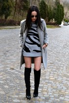 heather gray Local store coat - black Stradivarius boots - silver Bershka blouse