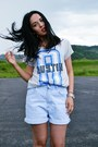 Light-blue-denim-vintage-lee-cooper-shorts-black-zara-sandals