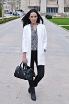 white Zara coat - black Bershka boots - black Zara jeans - black Zara shirt