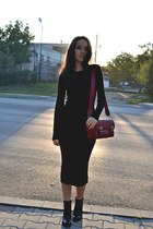 black Zara boots - black Zara dress - brick red Zara bag