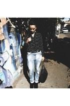 black Zara boots - sky blue boyfriend jeans Zara jeans