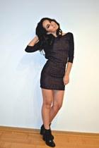 black Zara boots - dark gray Zara dress - black H&M ring