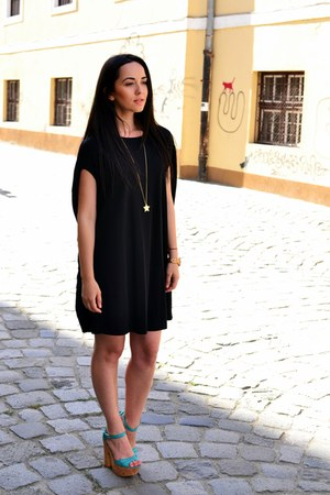 light orange Fossil watch - black Zara dress - gold H&M necklace