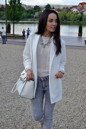 white Stradivarius blazer - silver H&M jeans - white Stradivarius bag