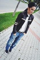 black H&M shoes - blue boyfriend H&M jeans - black leather old jacket