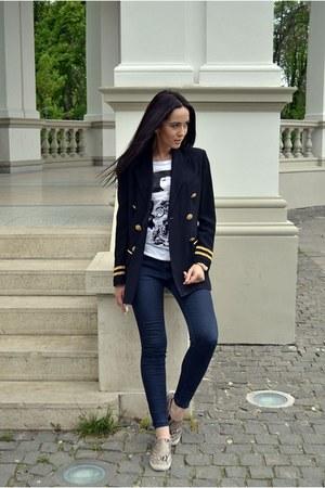 navy Zara jeans - dark khaki H&M shoes - navy vintage Vertigo blazer