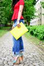 Red-peplum-zara-top-navy-boyfriend-h-m-jeans-lime-green-clutch-bershka-bag