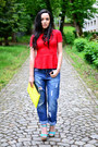 Navy-boyfriend-h-m-jeans-lime-green-clutch-bershka-bag-red-peplum-zara-top