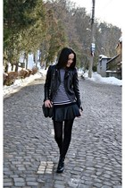 black leather Zara jacket - black Zara boots - black Zara bag