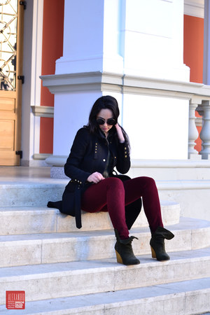 teal Zara boots - black Zara coat - brick red Zara pants