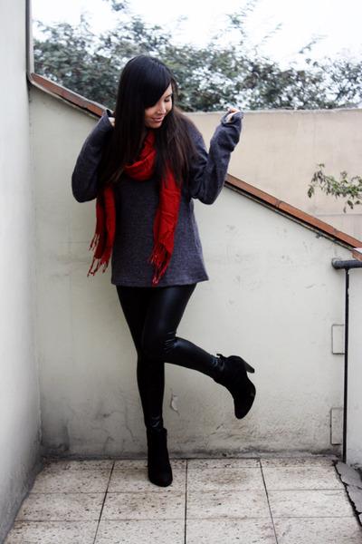 Aziz scarf - axxs boots - Aziz sweater - leatherette no brand leggings