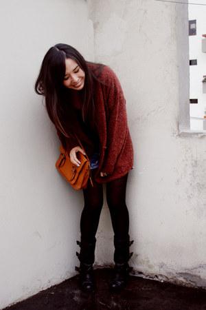 asos boots - Navigata bag - pepe london jeans shorts - Xiomi top - vintage cardi