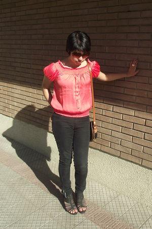 pink Contempo blouse - brown Risk sunglasses - blue Dooney & Bourke purse - blac