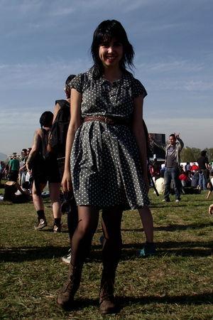 green nicopoly dress - brown belt - brown boots - black panties