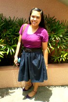 purple Parisian flats - shirt - skirt - silver seiko watch