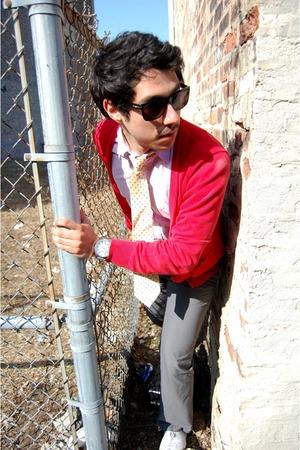 red H&M cardigan - purple Gap shirt - yellow christian dior tie - gray H&M pants
