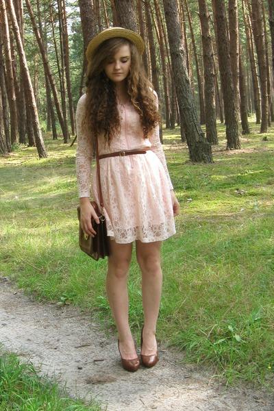 lace no brand dress - no brand hat - no brand bag - H&M heels
