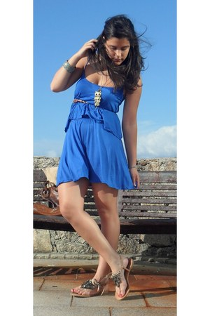 blue Zara dress - brown Zara sandals - Primark bracelet