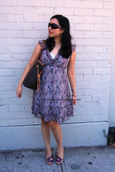 purple CKM dress - purple Vincci shoes - brown Louis Vuitton purse