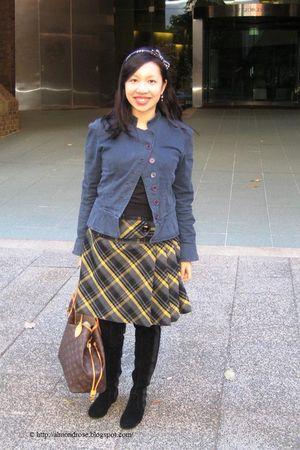 blue Picnic jacket - yellow Iora skirt - black Zara sweater - black Scooter boot