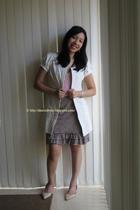 white Sportsgirl coat - pink Just jeans blouse - beige Valleygirl skirt - pink V