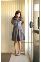 blue cotton on blouse - gray seed skirt - beige Kookai shoes