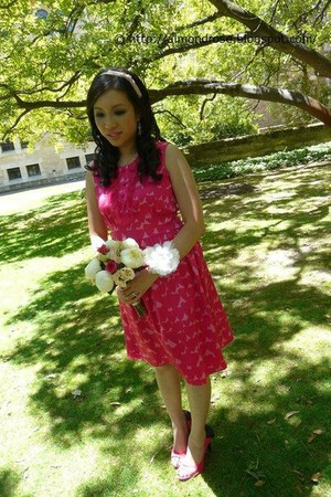 hot pink Alannah Hill dress - pink hairband Equip accessories - hot pink Vincci
